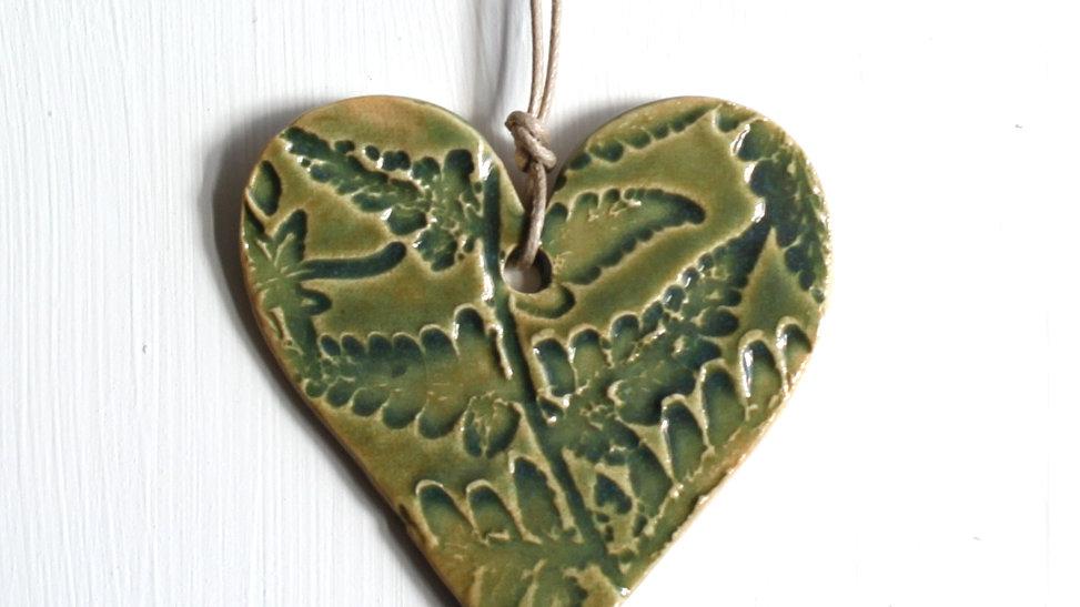 Green Heart Fern Ceramic Ornament by Jen -9099