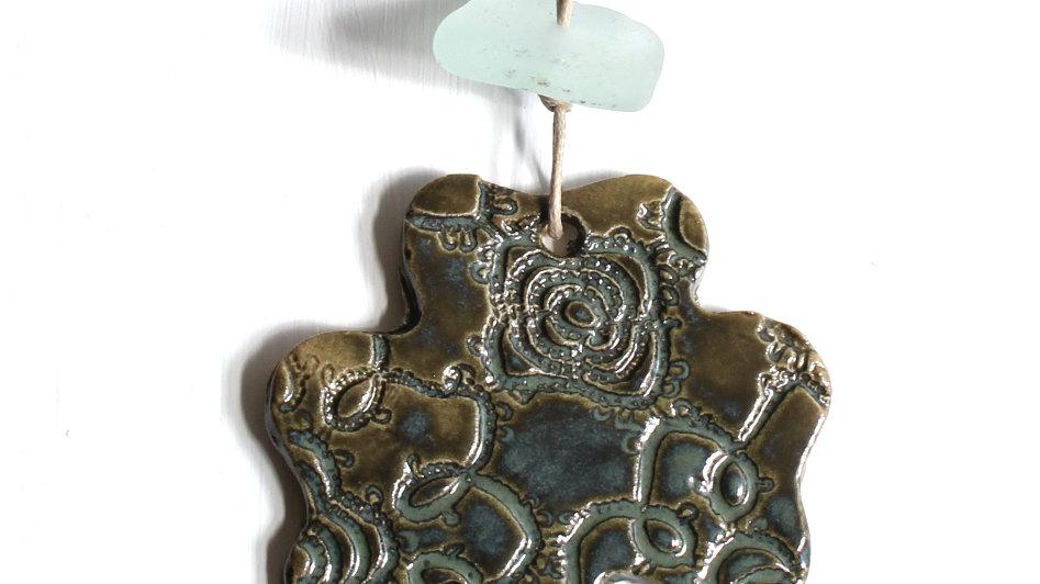 Dark Green Shamrock Ceramic Ornament w/ Sea Glass by Jen -9087