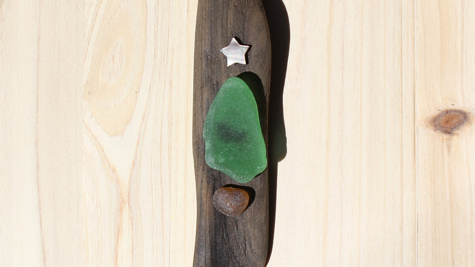 Tree Ornament Sea Glass Driftwood by Nicola -449