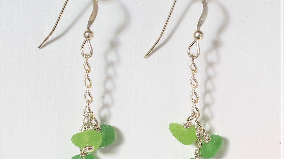 Green Sea Glass Sterling Silver Earrings by Nicola -207
