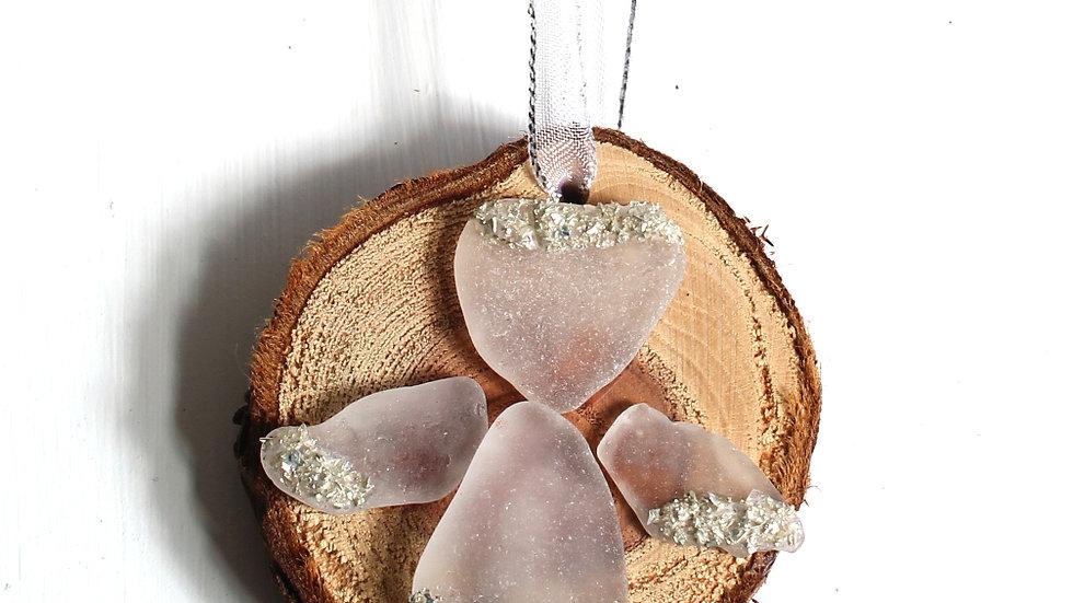 Sea Glass Redwood Slice Angel Ornament by Serena -9134