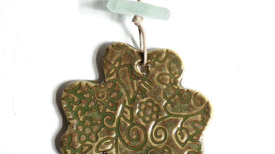 Green Shamrock Ceramic Ornament w/ Sea Glass by Jen -9080