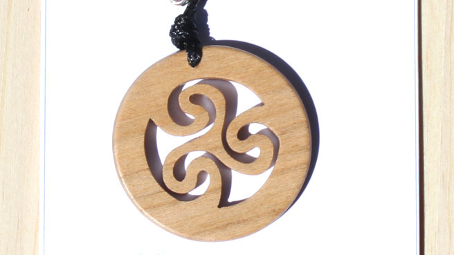 Triskele Carved Wood Pendant on 18 inch leather cord - Cherry