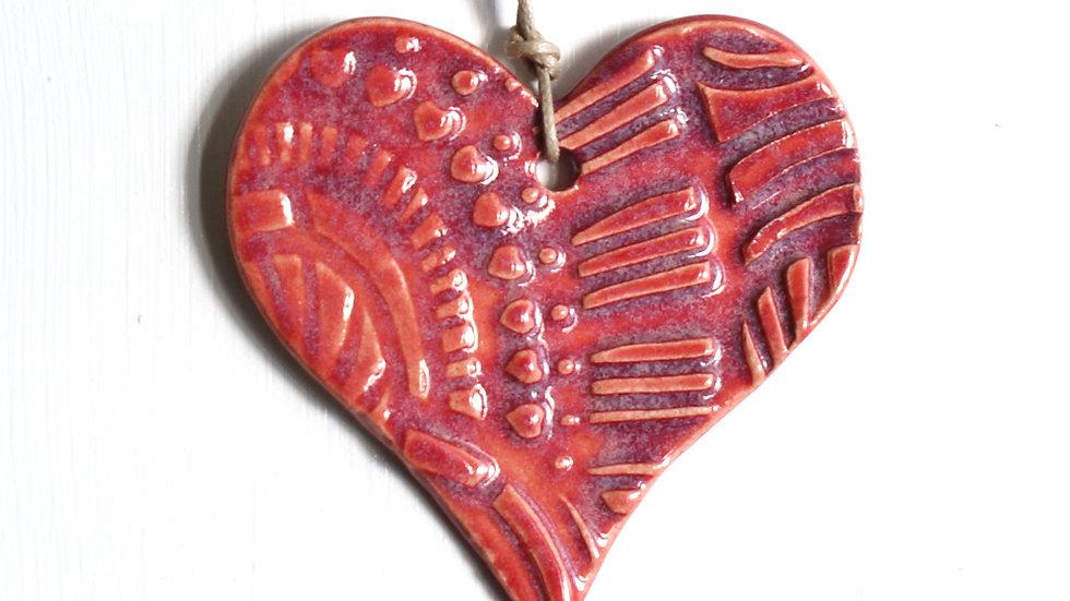 Red Heart Ceramic Ornament by Jen -9062