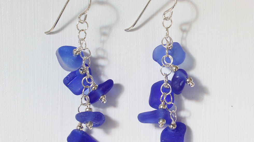 Cobalt Sea Glass Sterling Silver Earrings by Victoria -20033