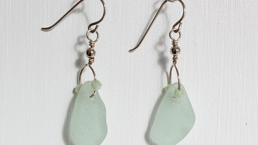 Seafoam Sea Glass Sterling Silver Earrings by Victoria -18347