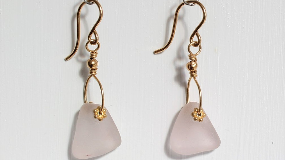 Lavender Sea Glass 14k Gold Filled Earrings by Victoria -19033