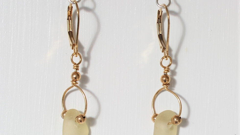 Yellow Sea Glass 14k Gold Filled Earrings by Victoria -18415