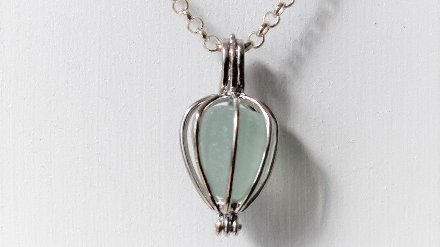 Seafoam Sea Glass Sterling Silver Cage Necklace by Nicola -267