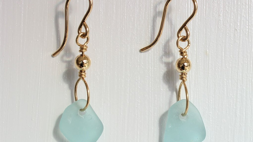 Aqua Sea Glass 14k Gold Filled Earrings by Victoria -19247