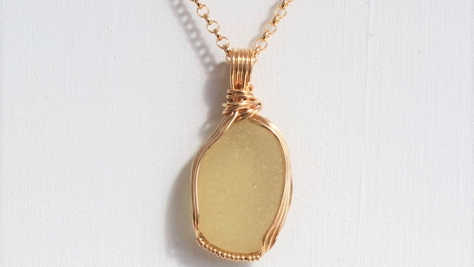 Yellow Sea Glass 14k Gold Filled Necklace by Victoria