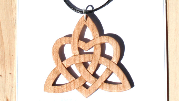 Celtic Knot Heart Carved Wood Pendant on 18 inch leather cord - Cherry