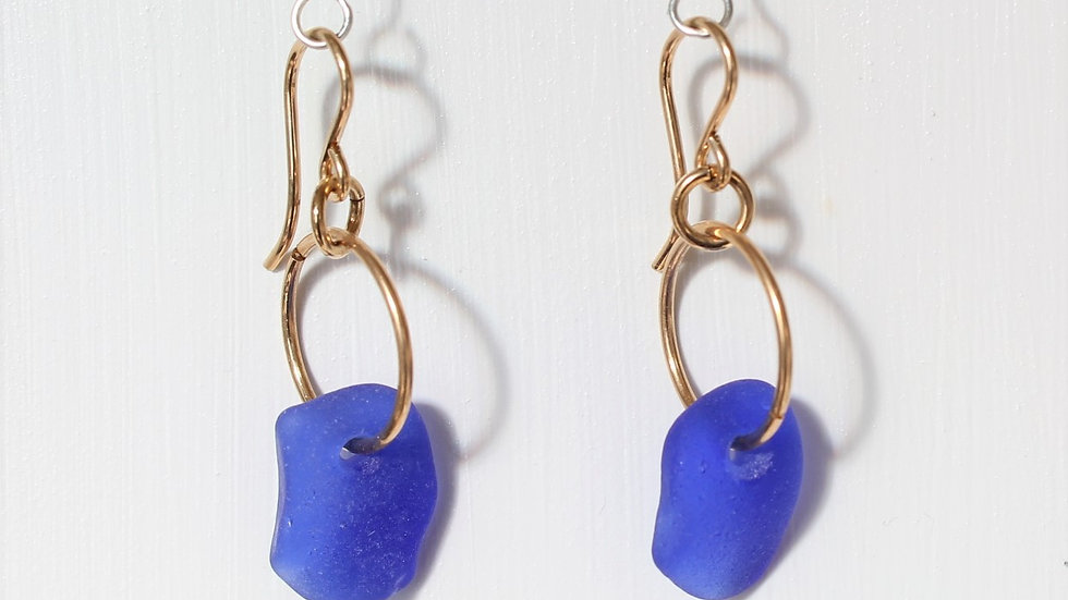 Cobalt Sea Glass 14k Gold Filled Earrings by Victoria -19070