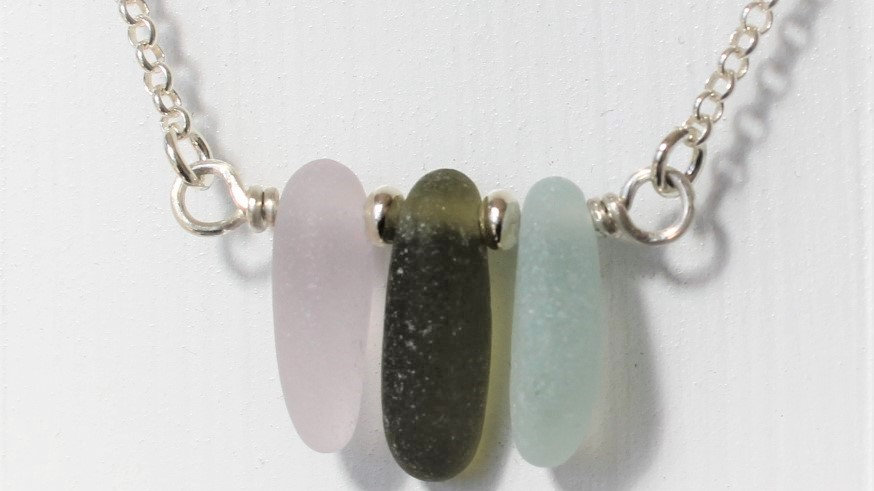 Lavander Olive Seafoam Sea Glass Sterling Silver Bar Necklace by Nicola -444
