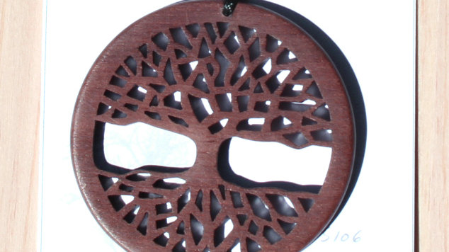 Tree of Life Carved Wood Pendant on 20 inch leather cord - Dark Walnut