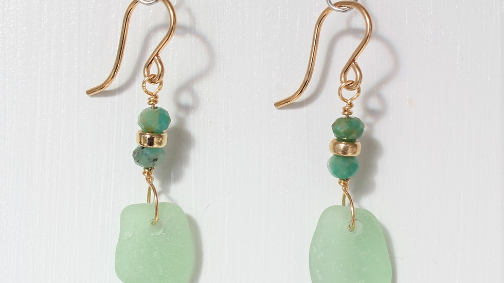 Light Green Sea Glass 14k Gold Filled  Earrings by Victoria -19174