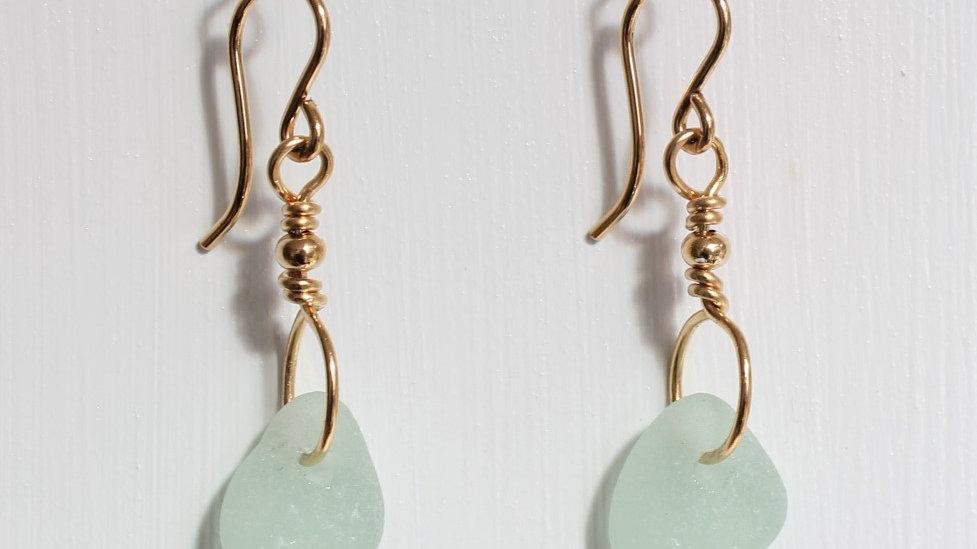 Seafoam Sea Glass 14k Gold Filled Earrings by Victoria-19069