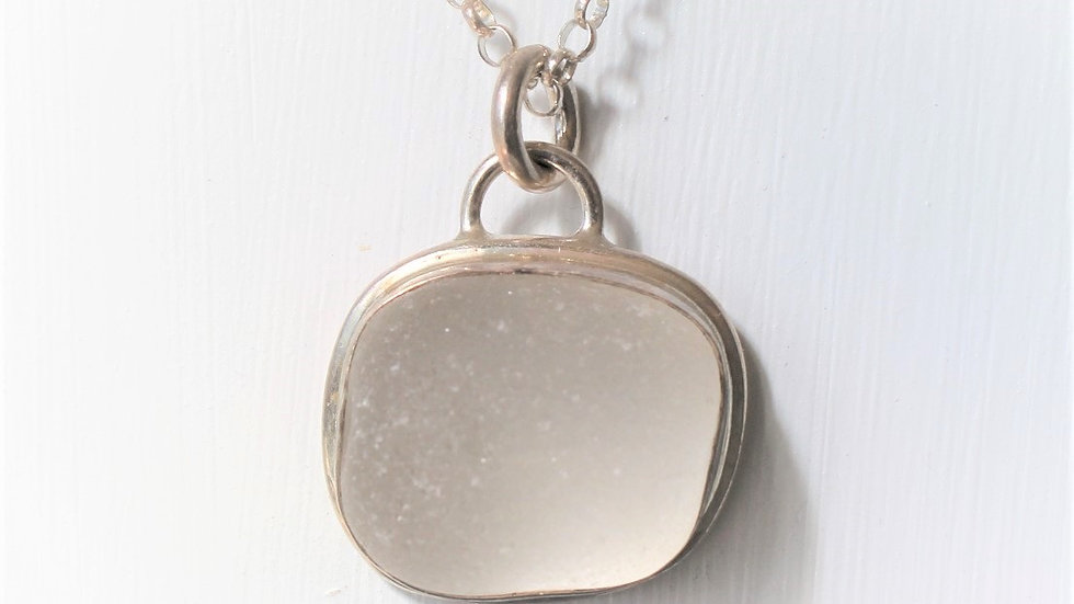 White Bubble Sea Glass Sterling Silver Bezel Necklace by Nicola -117