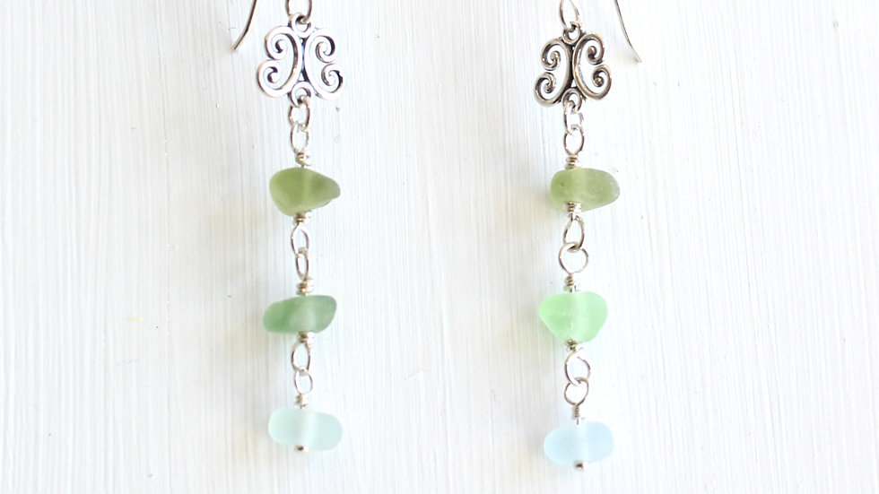 Light Green and Aqua Sea Glass Sterling Silver Earrings by Nicola -499