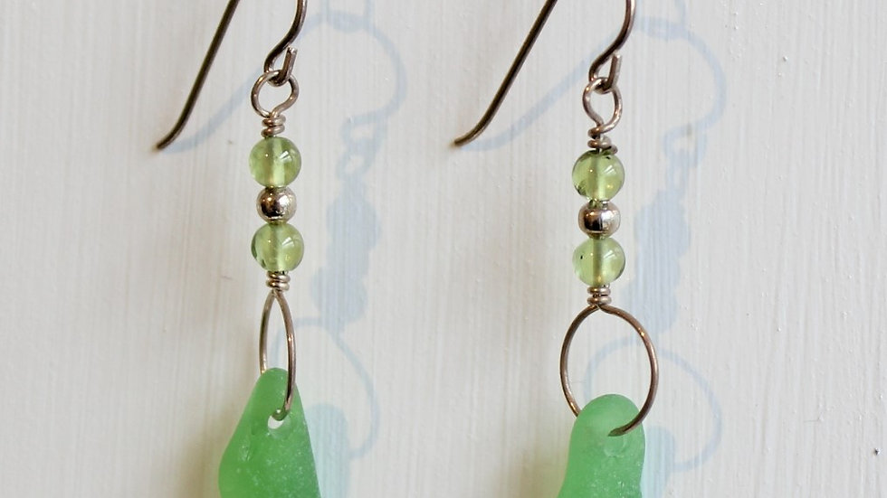 Lime Green Sea Glass Sterling Silver Earrings by Victoria -19128