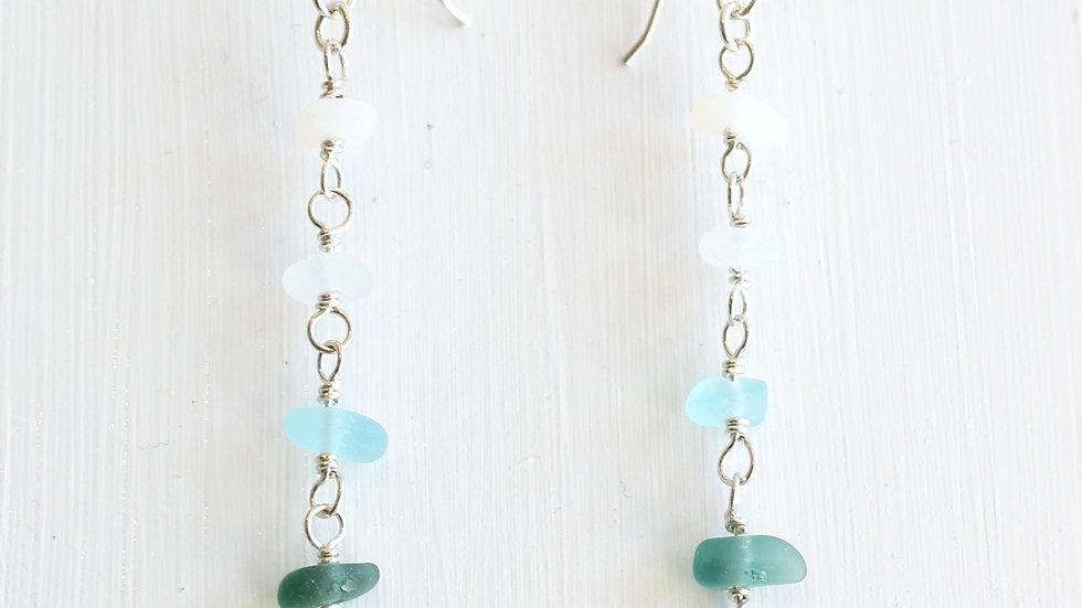 Green Teal Aqua White Sea Glass Sterling Silver Earrings by Nicola -492