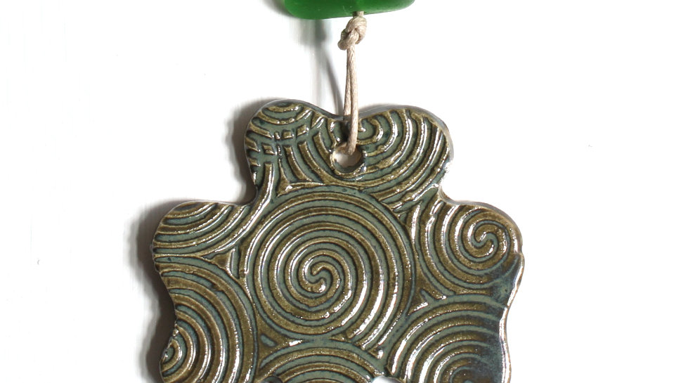 Green Shamrock Ceramic Ornament w/ Sea Glass by Jen -9077