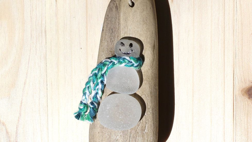 Snowman Ornament Sea Glass Driftwood by Nicola -417