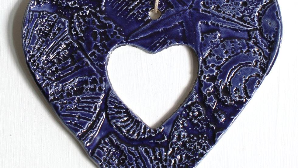 Dark Blue Heart Ceramic Ornament by Jen -9177