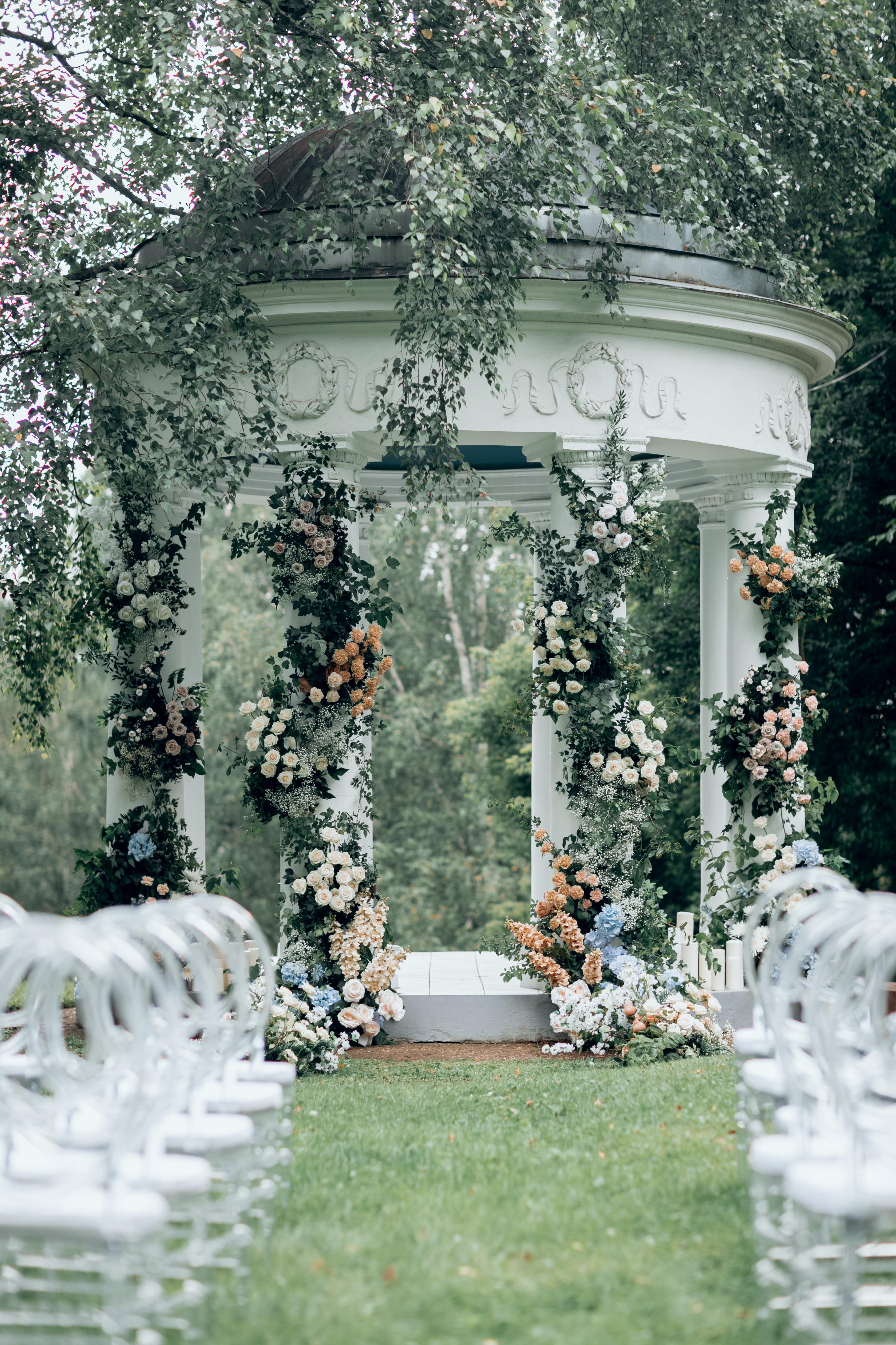 Оформление ротонды. Свадьба в Морозове. Свадьба в усадьбе. Свадьба в Остафьево. Свадебный декор Моск