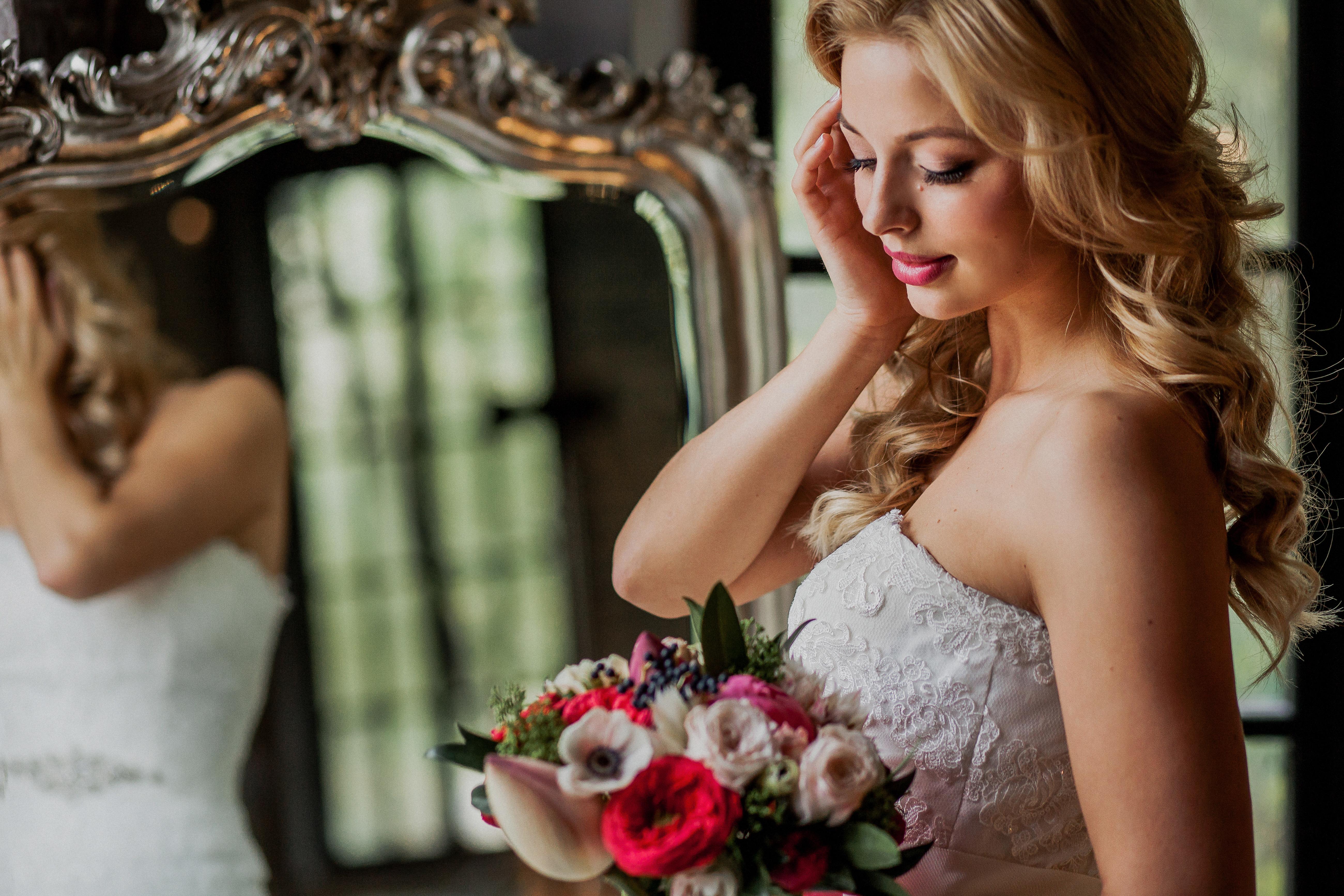 Яркий букет невесты в Моск