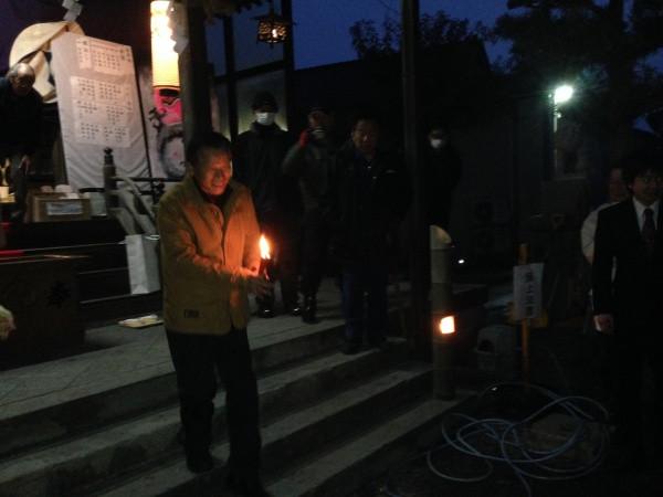 黒龍神社 左義長 火入れ