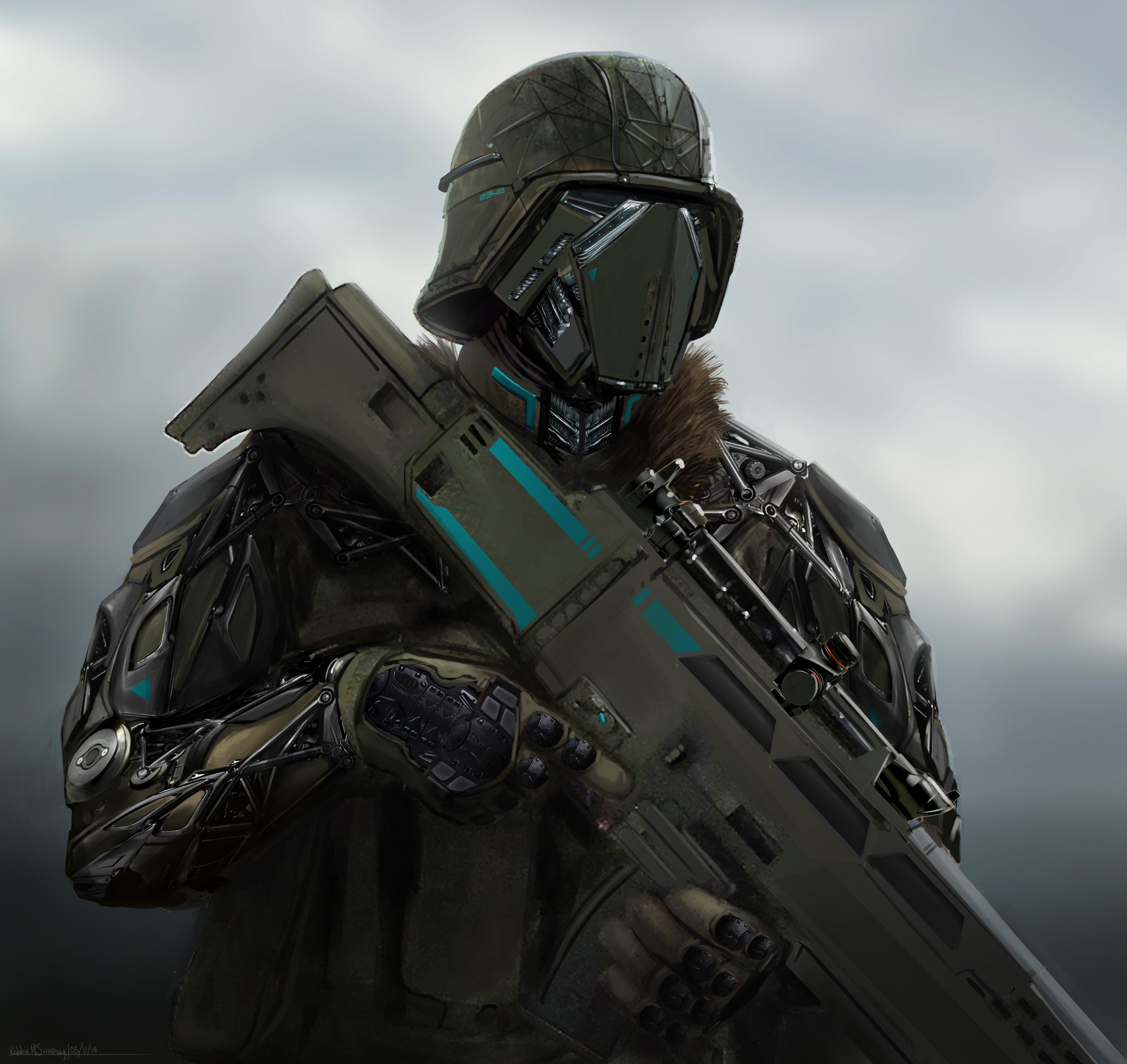 Futuristic sci-fi soldier dude