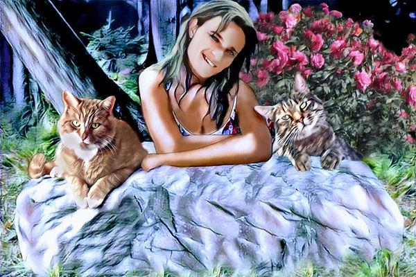 MONTAGE Portrait famille moi et mes chat