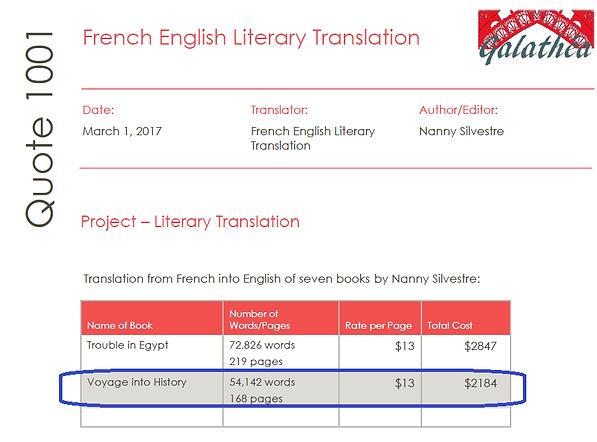 Submission cost translation novel voyage
