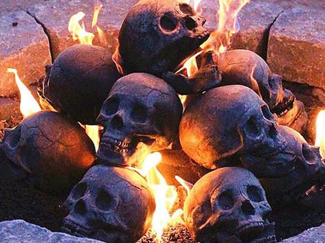 Halloween Fire Pit: Skull Logs