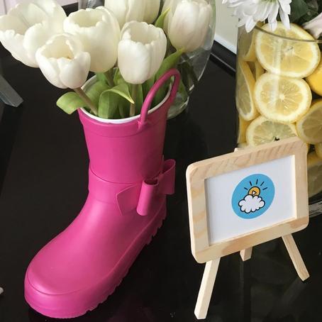 Spring Decor: Rain Boot Flowers
