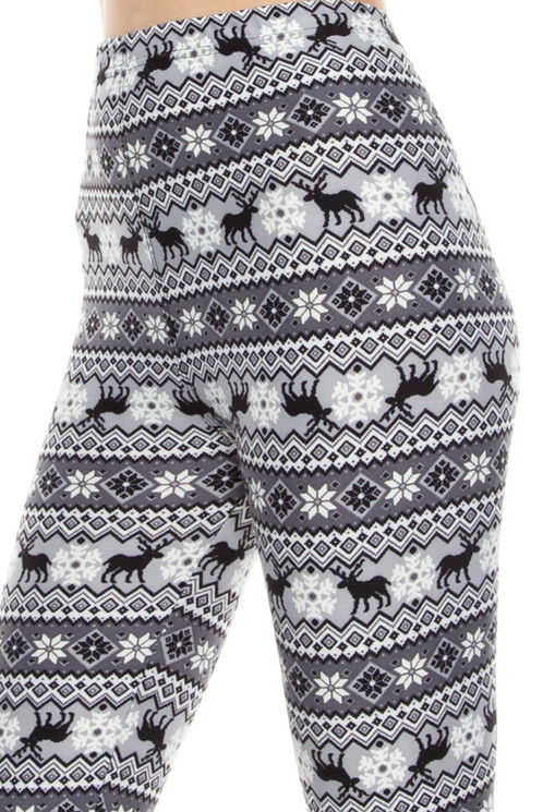REINDEER FAIR ISLE PRINT LEGGINGS (GRAY AND WHITE) | Leggings For ...