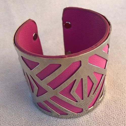 Bracelet manchette fuchsia