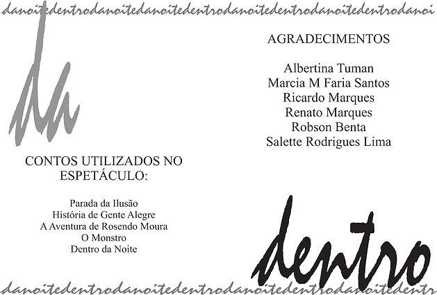 DENTRO DA NOITE - programa (capa - verso