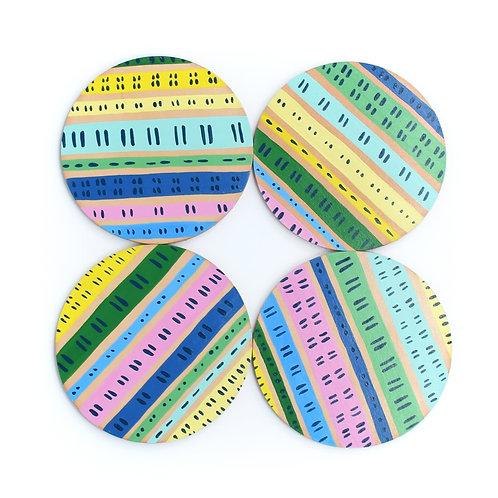 Rainbow Row Coasters - Set of 4