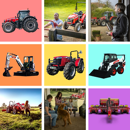 tractors, excavators, skid loader