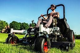 Bobcat mower mowing grass