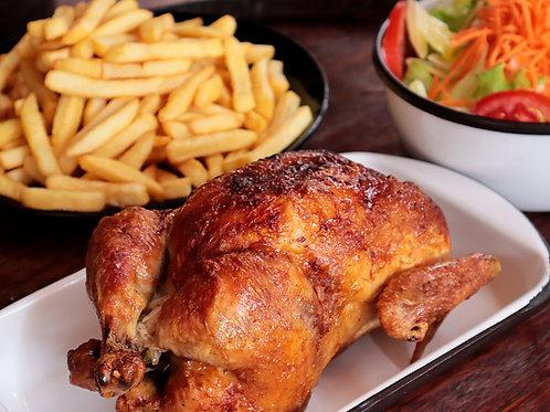 1 Pollo a la Leña + Papas + Ensalada