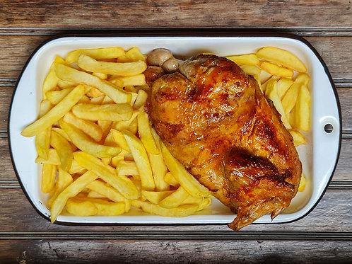 1/2 Pollo a la Leña + Papas + Ensalada