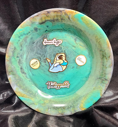 Resin Tray Teal/Gold Motivational Round