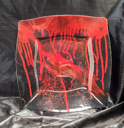 """Black/Red Spatter Tray 8"""""""