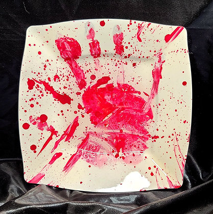 """White/Red Spatter Tray 8"""""""