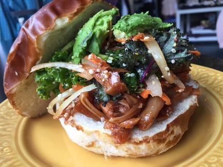 BBQ Jackfruit Sandwiches with Kale Slaw