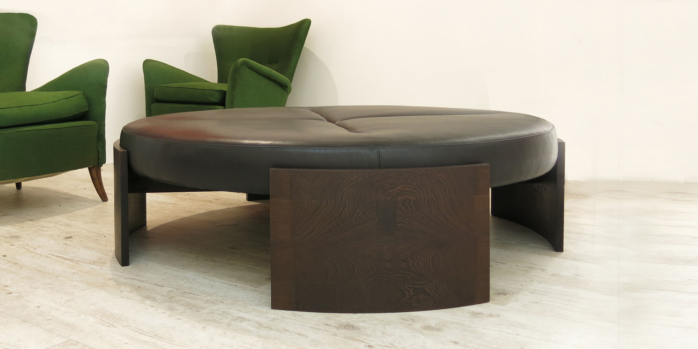 fbs - neclace table, 1400 l x 400 h, solide wenge with black leather upholstery top 2