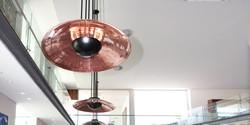 dish pendant, 900 dia x 180 h, blackaluminium dish with copper interior